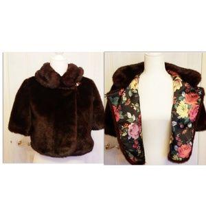 TED BAKER maroon fur coat